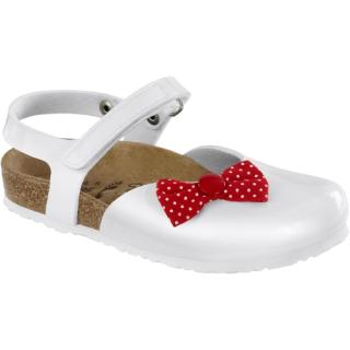 Sari White Patent Red Bow